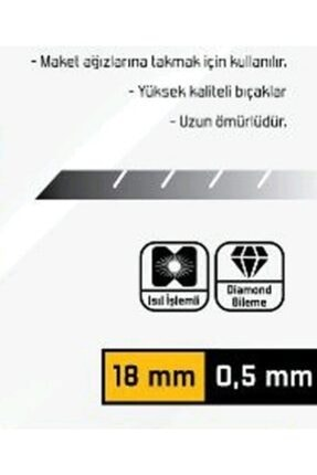 Stars Kupa Kalite Maket Bıçağı Falçata Ağzı 18 X 5 mm 10 Adet 1