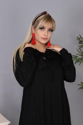 Şirin Butik Kadın Büyük Beden Siyah Renk Kravat Yaka Detaylı Viskon Elbise 4