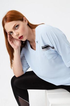 Kadın Bebe Mavi Fakir Kollu Büyük Beden Cepli Bluz resmi