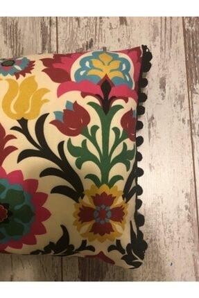 heybelioda Etnik Desen Dijital Baskı Kumaş Siyah Ponpon Şeritli Dekoratif Kırlent / Yastık Kılıfı 4