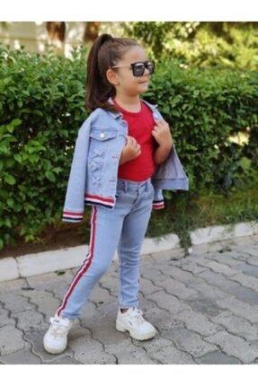 EFE KIDS Şeritli Kız Cocuk 3 Lü Kot Takım- Efe Kids 1