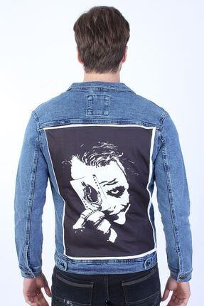 تصویر از Batman Baskılı Erkek Mavi Yıkamalı Kot Ceket