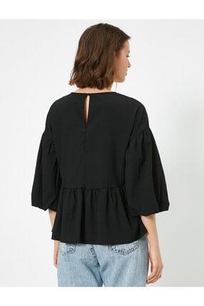 Koton Kadın Siyah Balon Kollu Fırfırlı Bluz 3