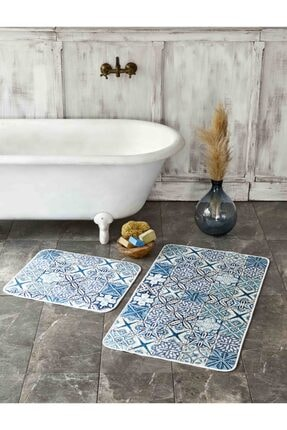 Karaca Home Blue Patch 2 Parça Baskılı Banyo Halısı 0
