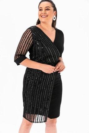 By Saygı Kol Pul Payet Büyük Beden Elbise Siyah 1