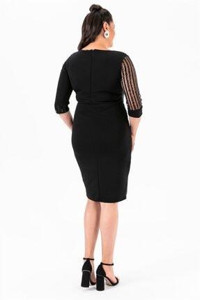 By Saygı Kol Pul Payet Büyük Beden Elbise Siyah 4