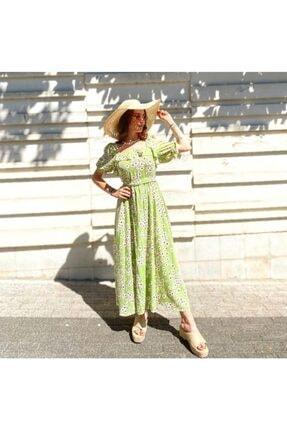 Çiçekli Elbise Fıstık Yeşili S-M