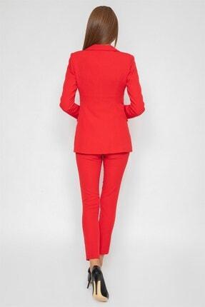 1DEN2YE Yandan Cepli Pantolon Kırmızı 2