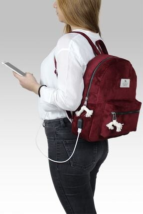 My Valice Smart Bag Usb Şarj Girişli Kadife Sırt Çantası 1201 Bordo 0