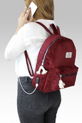 My Valice Smart Bag Usb Şarj Girişli Kadife Sırt Çantası 1201 Bordo 2