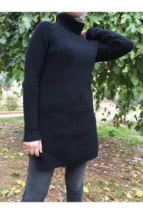Hatiç Store Kadın Siyah Renk Boğazlı Tesettür Triko Tunik & Kazak 2