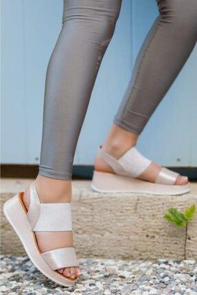 Deripabuc Hakiki Deri Pudra Simli Kadın Deri Sandalet Dp08-5016 0