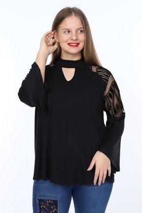 1fazlası Büyük Beden Ispanyol Kol Kabartma Flok Desen Detaylı Bluz 1