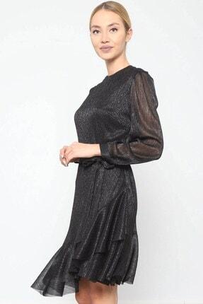 Journey Elbise Bilezik Yaka- Kol Üstü Pileli, Eteği Asimetrik Volanlı 3