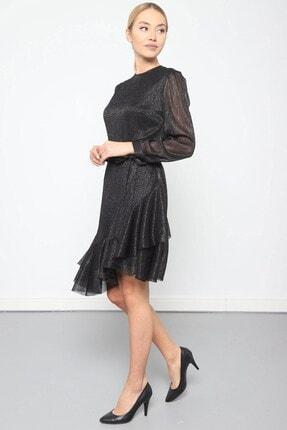Journey Elbise Bilezik Yaka- Kol Üstü Pileli, Eteği Asimetrik Volanlı 4