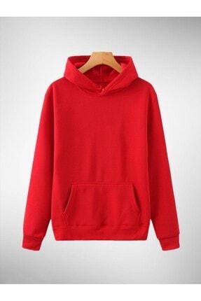 OkeanoX Kapşonlu Kırmızı Pamuklu Örme Sweatshirt 0