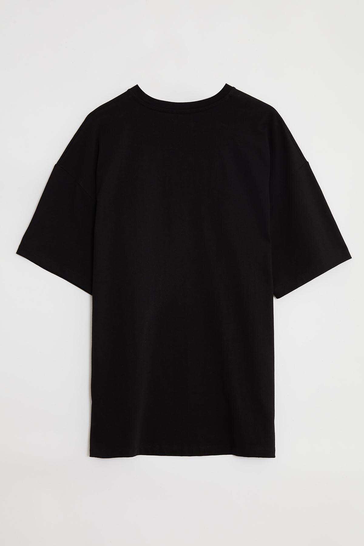 GRIMELANGE RIVER Erkek Siyah Önü Yazı Nakışlı Kısa Kollu Oversize T-Shirt