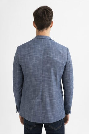 Avva Erkek Mavi Kurtağzı Yaka Düz Slim Fit Cebi Kapaklı Ceket A01y4024 4