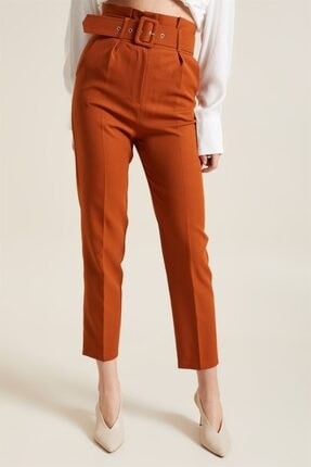 Z GİYİM Kadın Taba Kemerli Yüksek Bel Kumaş Pantolon 0