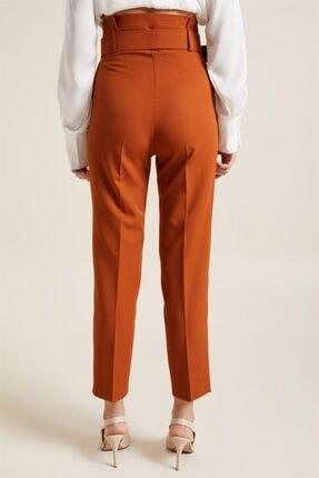 Z GİYİM Kadın Taba Kemerli Yüksek Bel Kumaş Pantolon 4