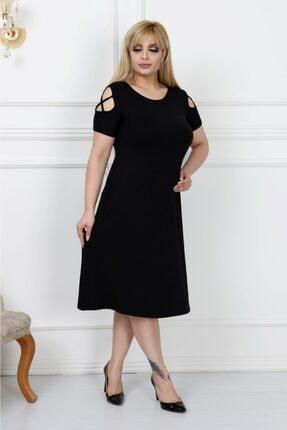 LİKRA Kadın Siyah Büyük Beden Kolları Çapraz Biye Lı Viskon Elbise 0