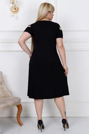 LİKRA Kadın Siyah Büyük Beden Kolları Çapraz Biye Lı Viskon Elbise 2
