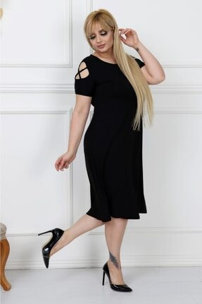 LİKRA Kadın Siyah Büyük Beden Kolları Çapraz Biye Lı Viskon Elbise 4