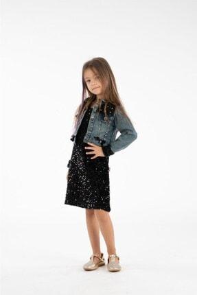 Minik Dolap Kız Çocuk Siyah Kot Ceketli Payetli Elbise 1