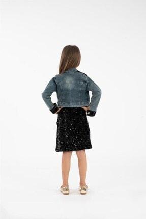Minik Dolap Kız Çocuk Siyah Kot Ceketli Payetli Elbise 3