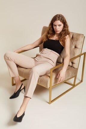 Z GİYİM Kadın Taş Kemerli Yüksek Bel Kumaş Pantolon 1