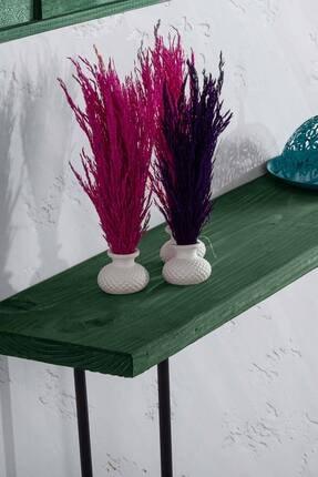 bluecape Doğal Ağaç Jenga Boy Konsol Ayna Ve Yeşil Kalorifer Petek Üstü Koridor Demir Ayak Dresuar Takımı 4