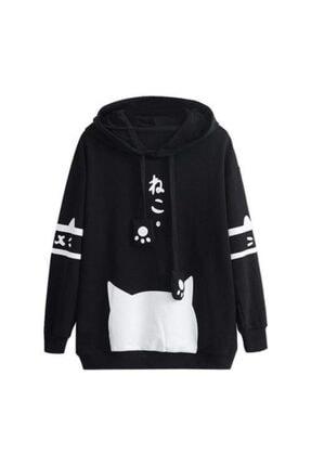 öz taha Kadın Siyah Patili Sweatshirt 0