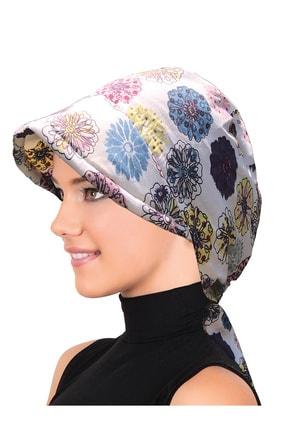fidan bone Koton Şapka Beyaz Çiçek Desenli Bone 0
