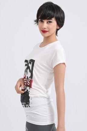 metropol tekstil Krt-001 Steerts Baskılı Bisiklet Yaka T-shirt Krem 1