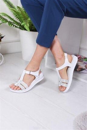 Deripabuc Hakiki Deri Beyaz Kadın Deri Sandalet Dp05-s010 2