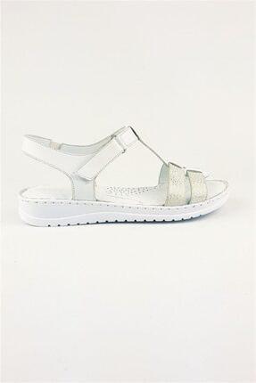 Deripabuc Hakiki Deri Beyaz Kadın Deri Sandalet Dp05-s010 3