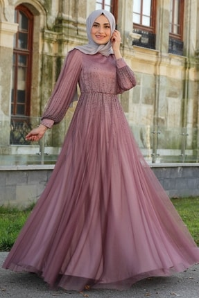 Lequeen Gül Kurusu Tesettür Abiye Elbise 1