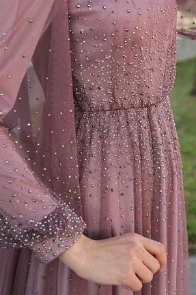 Lequeen Gül Kurusu Tesettür Abiye Elbise 3