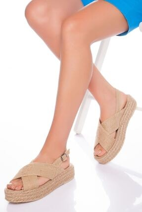 derithy Kadın Bej Hasır Sandalet 0