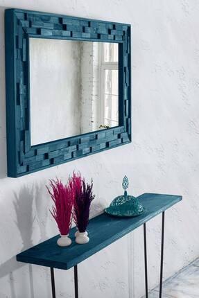 bluecape Doğal Ağaç Jenga Boy Konsol Ayna Ve Mavi Kalorifer Petek Üstü Koridor Demir Ayak Dresuar Takımı 1