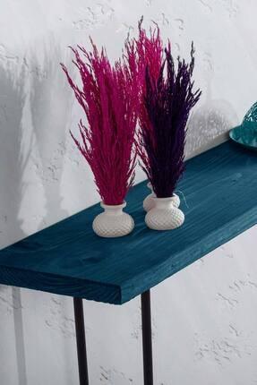 bluecape Doğal Ağaç Jenga Boy Konsol Ayna Ve Mavi Kalorifer Petek Üstü Koridor Demir Ayak Dresuar Takımı 2