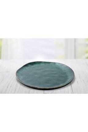 Keramika Tabak Organık Servıs 26 Cm Reaktıf Koyu Artıstık Yesıl Tekli 1