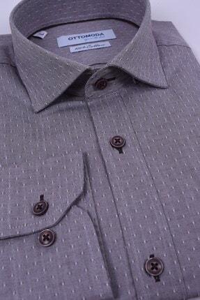 Otto Moda Uzun Kollu Desenli Erkek Gömlek Kahverengi Oxford 0