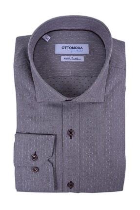 Otto Moda Uzun Kollu Desenli Erkek Gömlek Kahverengi Oxford 1