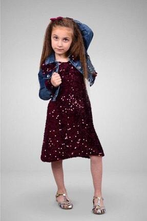 Tivido Kız Çocuk Bordo Kot Ceketli Payetli Elbise 0