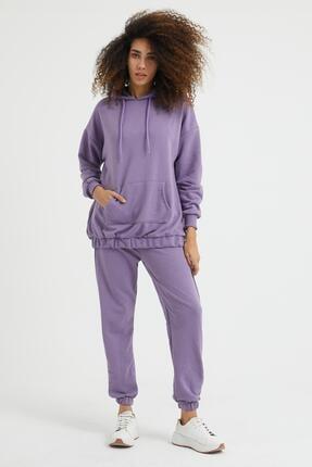 Giyinsende Kadın Mor Kanguru Cep Eşofman Takımı 0