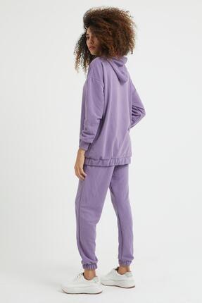 Giyinsende Kadın Mor Kanguru Cep Eşofman Takımı 3