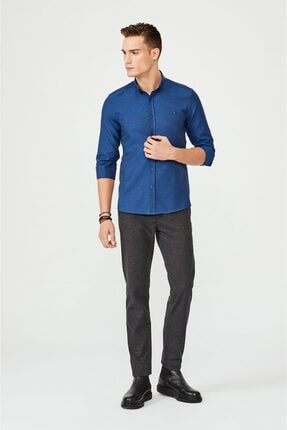 Avva Erkek Lacivert Oxford Düğmeli Yaka Slim Fit Gömlek E002000 3