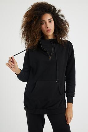 Giyinsende Kadın Siyah Fermuarlı Kanguru Cep Eşofman Takımı 1