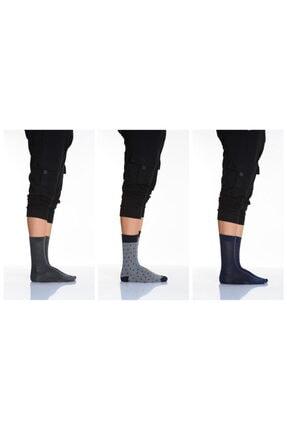 Idilfashion 3'lü Desenli-düz Karışık Erkek Soket Çorabı-4 LTEASO1503502